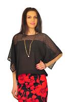 Bluza neagra din voal D2115 (Ama Fashion)
