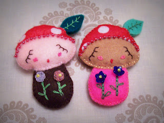 felt softie plushie mushroom toadstool girl toy