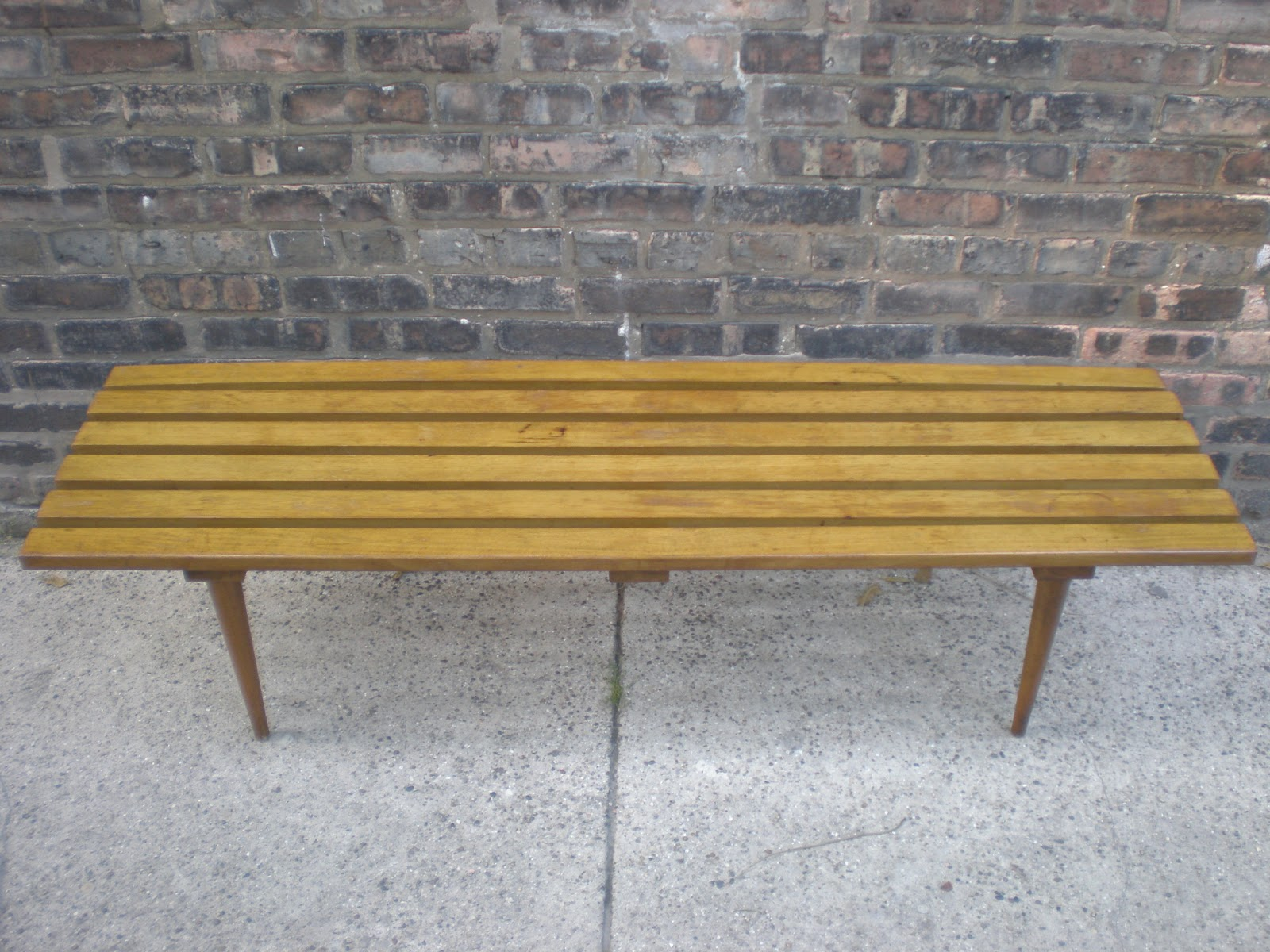 Mid Century Chicago Danish Modern 6 Slat Wooden Bench