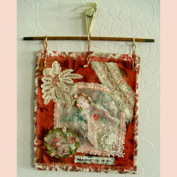 Fabric Wall Hanging feltissimo art: handmade vintage fabric and felted wall hanging.