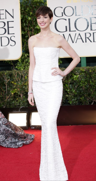 Golden Globes 2013 best dressed red carpet LUA luv u always leggings Ane Hathaway Chanel