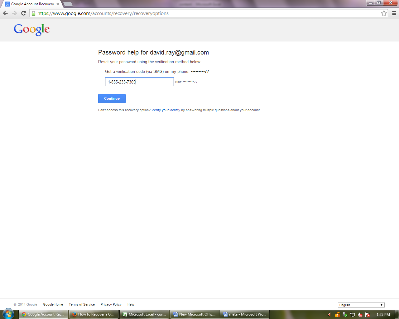 gmail password help
