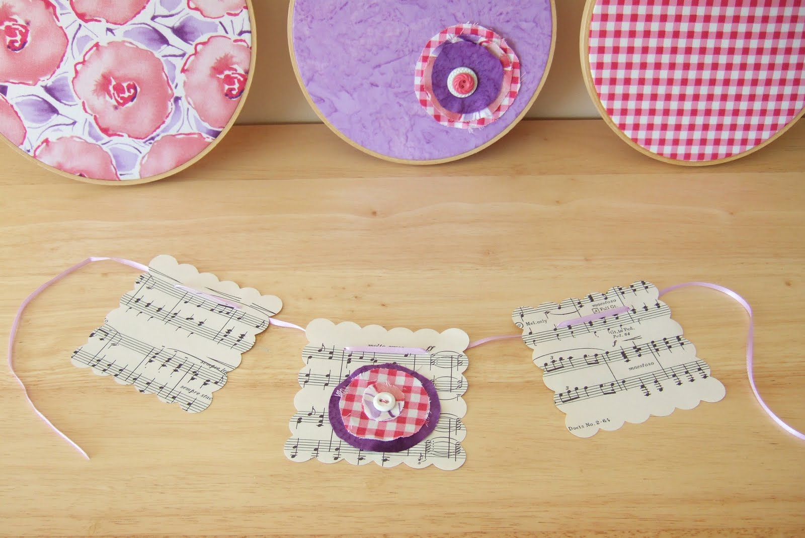 oh, buckets: embroidery hoop art and small banner gift set