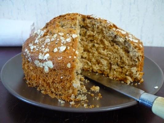 cuillère et saladier: gâteau au yaourt au thé et flocons d'avoine