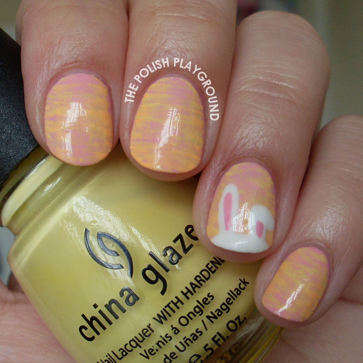 Pastel Haze with Easter Bunny Ears Nail Art
