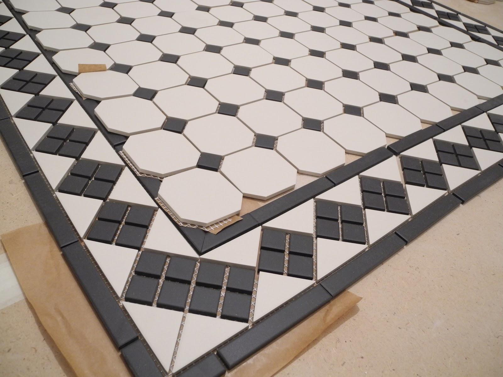 Плитка октагон черно-белая напольная