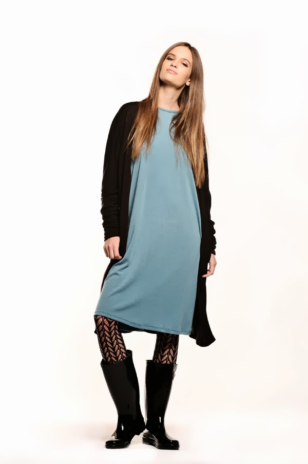 Gumboots with Comodo Wool Buttoned Tunic - Women's Fashion, White Background Studio Photography by Kent Johnson.