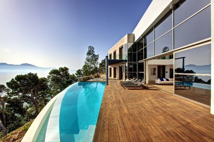 Terrace of Modern mansion on the cliffs of Mallorca