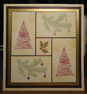 Collage Christmas card with trees