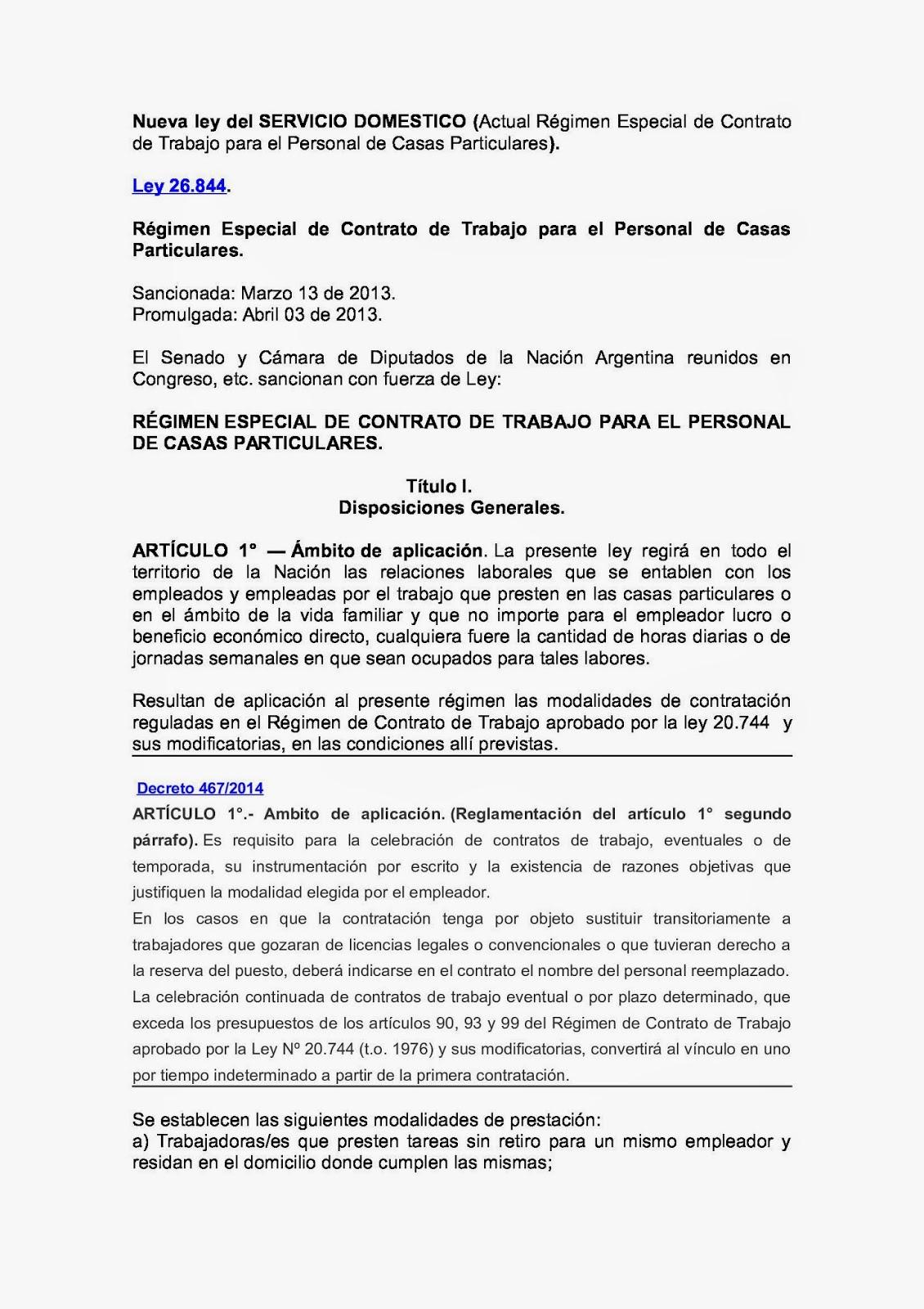 Juicio Laboral Ley 26844 Y Decreto Reglamentario 467 2014