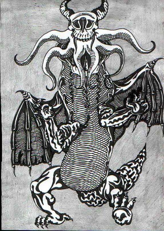 Рогатый, крылатый демон со щупальцами. Графический рисунок тушью