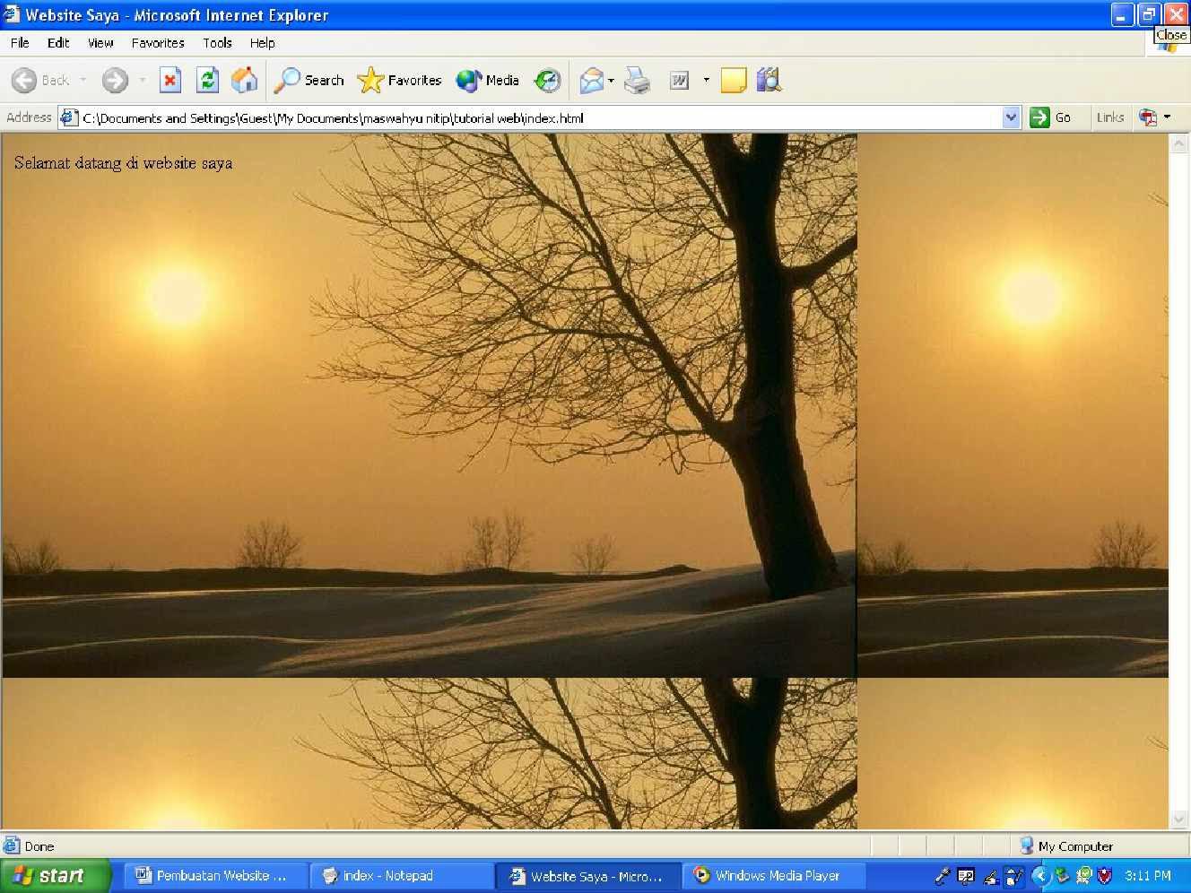 ... diingat bahwa menggunakan gambar sebagai background halaman website