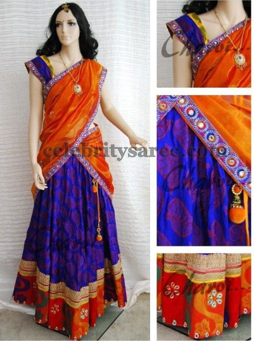 Purple Jute Net Half Saree