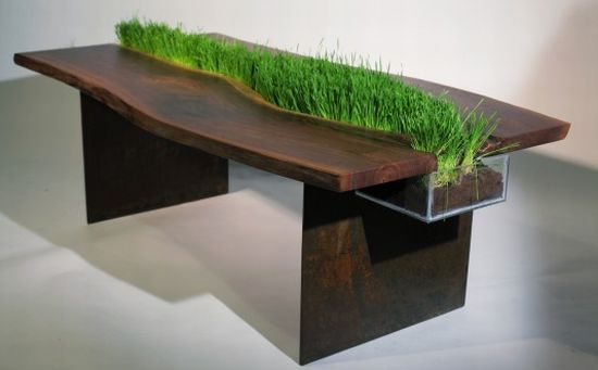 Unique Table With Natural Grass In The Middle By Emily Wettstein