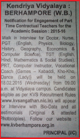 Berhampore Kendriya Vidyalaya Latest Part Time Contractual Teachers (PGT, TGT) Jobs Opening February 2015 (Walk-In-Interview)