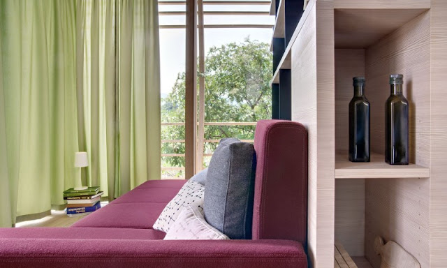 Pillows Dark Purple Sofa and Green Lime Curtains