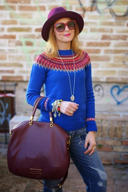 Asos Jaeger sweater, Dolce & Gabbana burgundy sunglasses, fair isle jumper, Ecua-Andino hat, Fashion and Cookies, fashion blogger