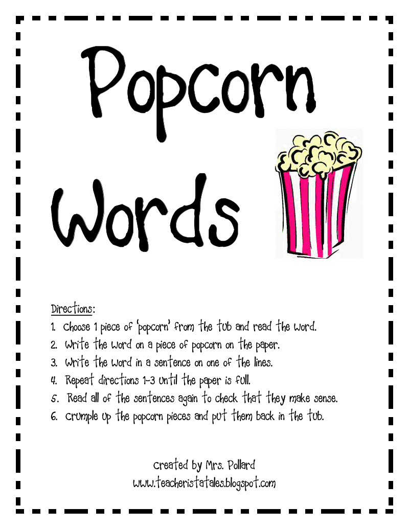 Piece of Popcorn Clip Art http://teacheristatales.blogspot.com/2011_04_01_archive.html