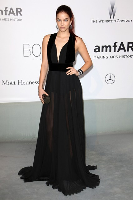 Barbara Palvin in a black gown at Cannes, AmfAR Gala 2014