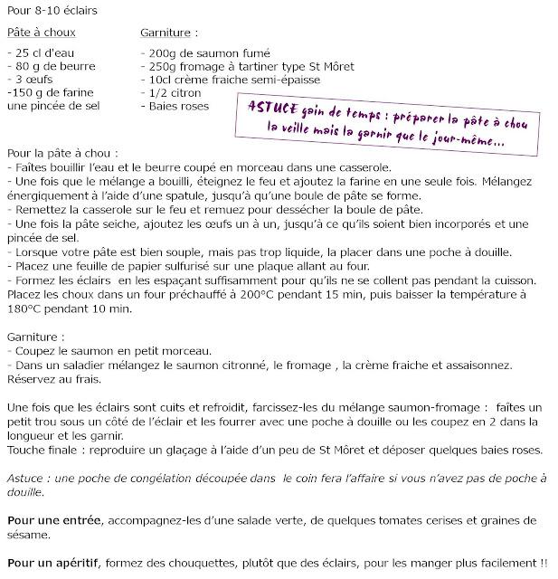 image recette Eclairs Saumon fumé - Fromage frais