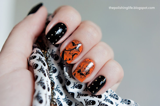"""Punk Rock"" splatter manicure with studs."