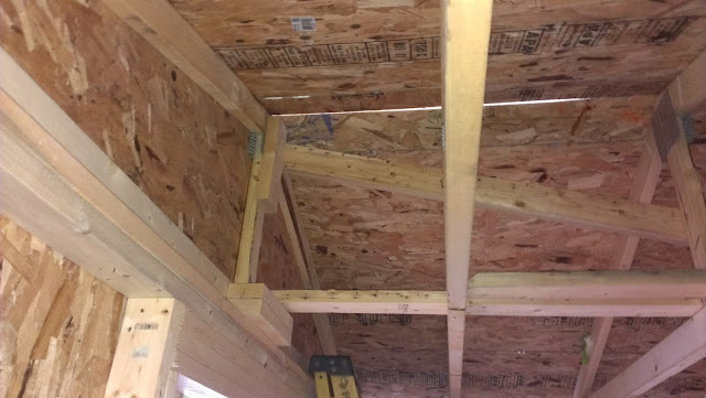 Bracing the trusses.