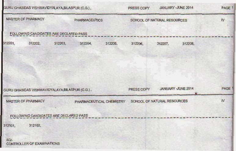 M.Pharm GGU 2014 Results