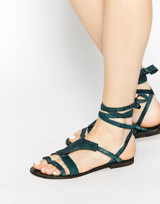 Free People flat teal colored sandals