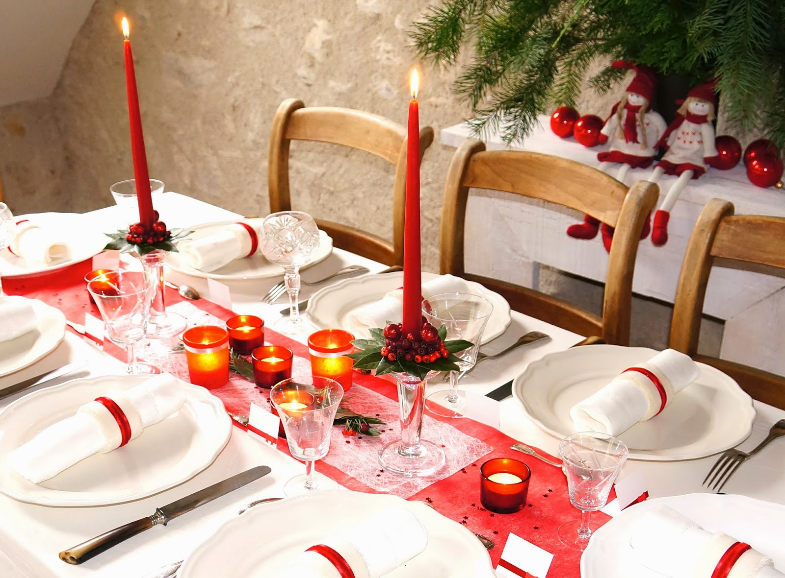 Ma boutique d co table d coration de table d coration de table de no l en rouge et blanc Une deco de table de noel