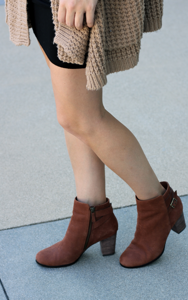 Cole Haan, booties, buckle, chunky sweater, shoes