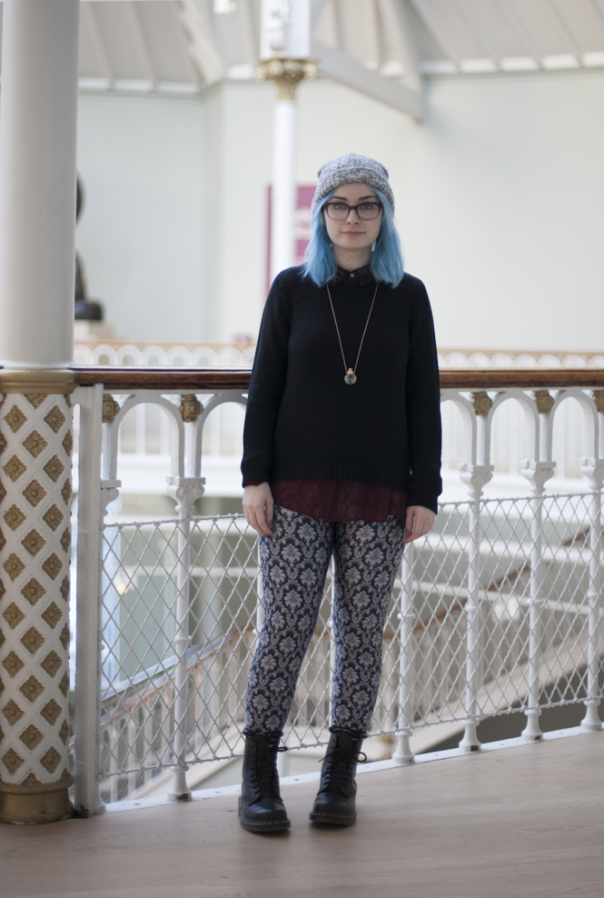 black milk leggings doc martens beanie girl with blue pastel hair