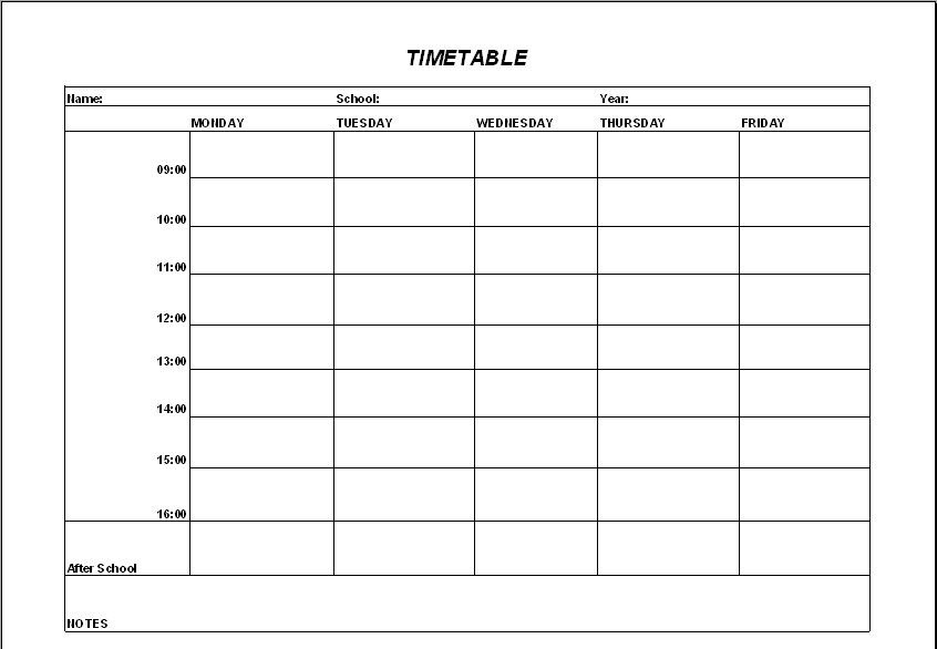 timetable outline template