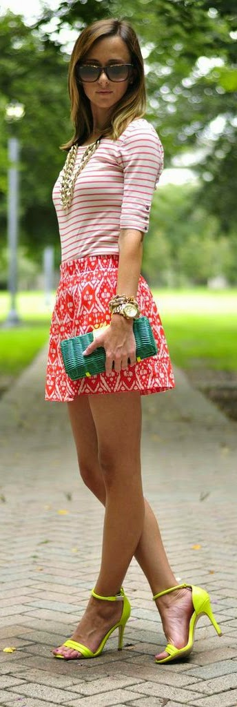 J.Crew Stripes Top with Printed Mini Skirt and Lime Green Heels | Street Chic Outfits