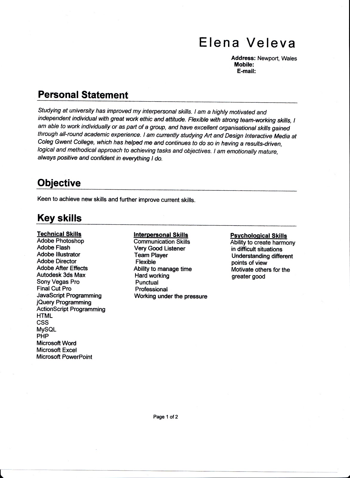 job course application and personal presentation skills page 1