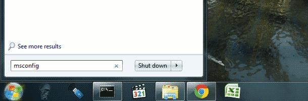 Startup - msconfig - system configuration window