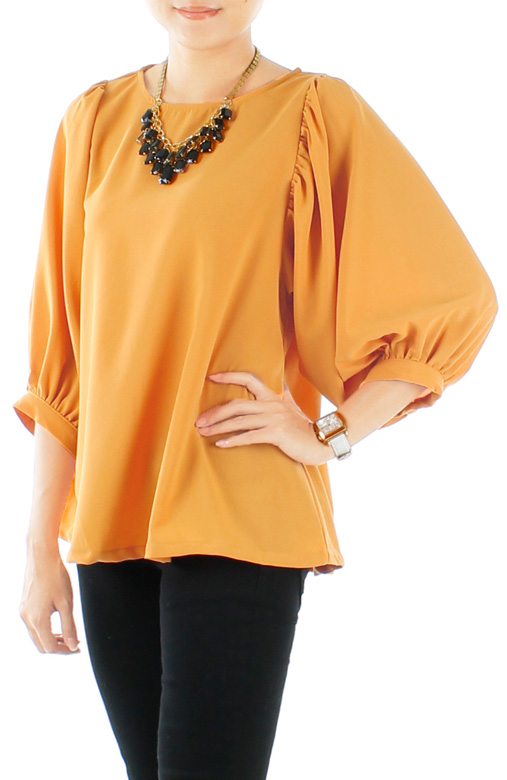 Gold Yellow Blushful Drape ¾ Sleeve Blouse