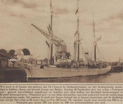 """De driemaster """"Pourquoie pas"""", die  op zondag 26 september 1926 te Brussel binnenvaarde."""