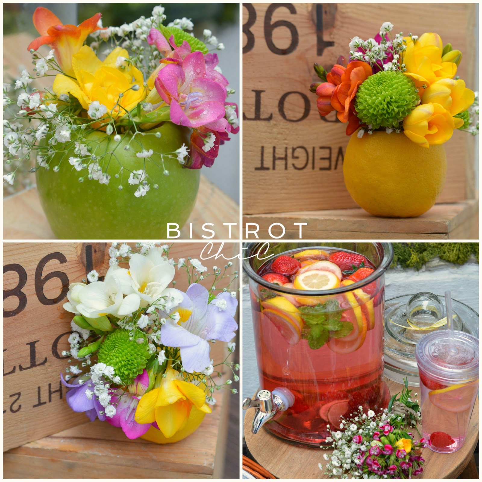 Spring Party Fruit Flower Jars by BistrotChic