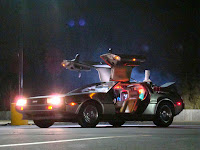 dark picture of the delorian car from the movie back to the future