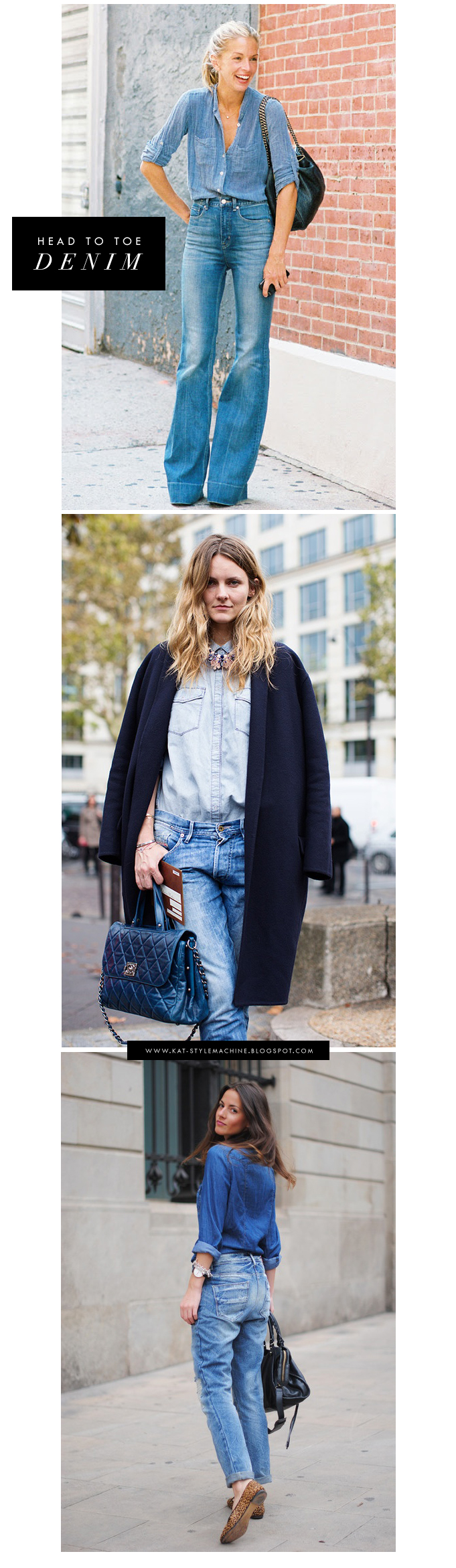 street style how to wear denim head to toe effortless style