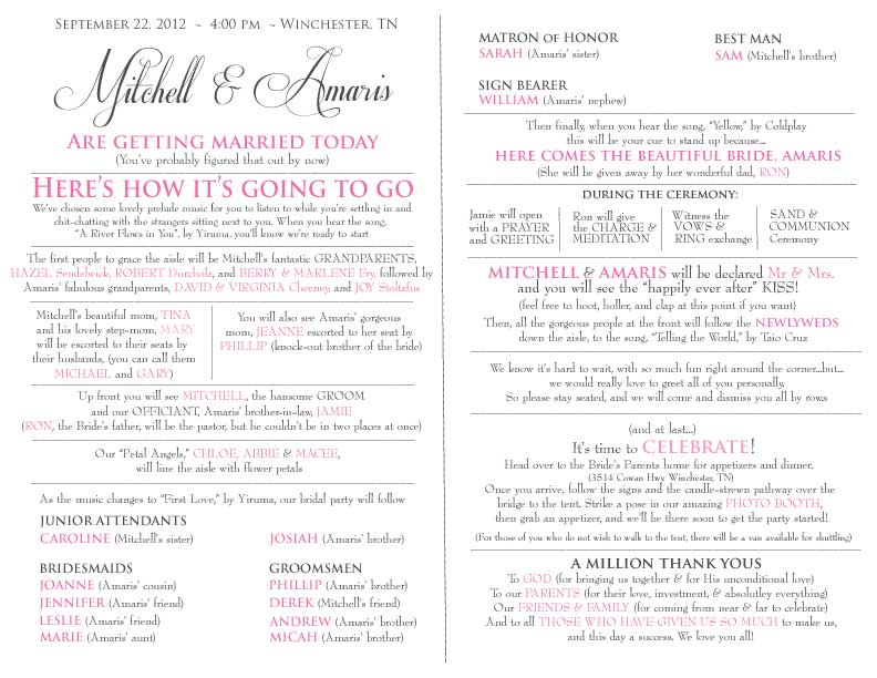 Church Street Designs: Fun Wedding Program