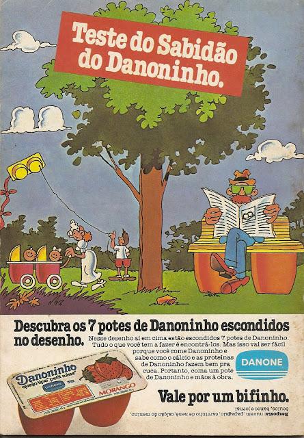 Propaganda do Danoninho veiculado em 1983 com um passatempo incorporado ao anúncio.