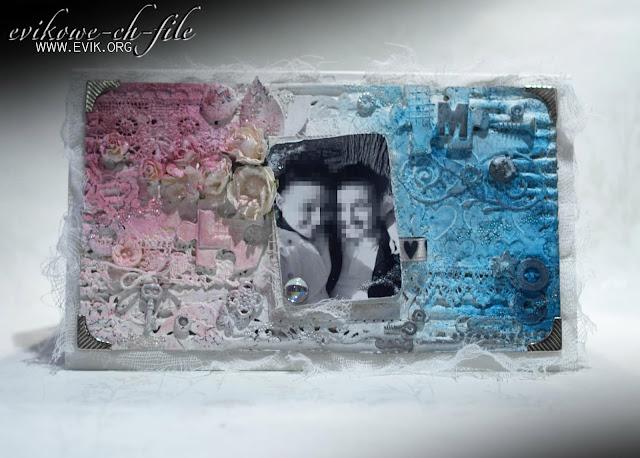 Decorative Labels Eight, mix media, Ewa Jarlińska, Evik, kartka ślubna, ręcznie robiona kartka ślubna, wedding card