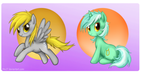 need a better title.first attempt to draw Lyra and Derpy (digitally) doesn't look too derp. and Bed hair Lyra  may be messy