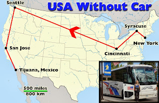 Travelling the US from coast to coast and north to south without car