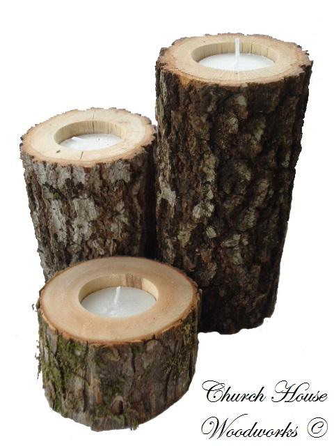 Rustic 4 weddings rustic wedding wood candle holders for Rustic wood candle holders