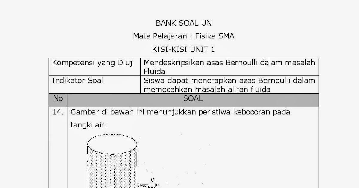 Achmad Saifudin 13 Pembahasan Soal Soal Un Fisika Fluida Dinamis Hukum Bernoulli