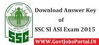 SSC SI ASI Anwer key 2015