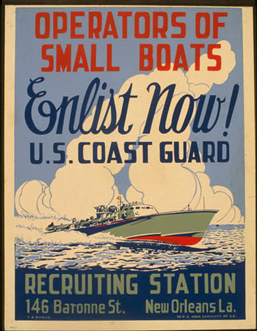 war, military, recruitment, enlist, vintage, vintage posters, retro prints, classic posters, free download, graphic design, Operators of Small Boats Enlist Now! U.S. Coast Guard - Vintage War Military Poster