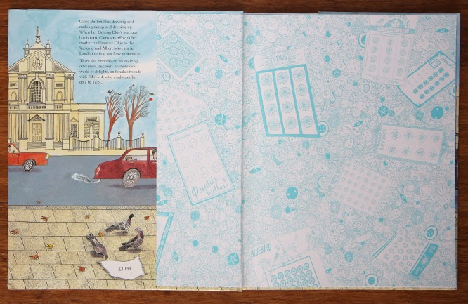 Clara Button and the Magical Hat Day by Amy de la Haye and Emily Sutton, beautiful endpapers